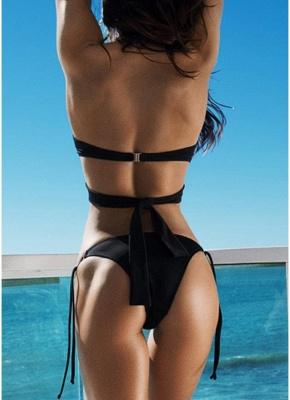 Women Solid Cross Halter Sexy Bikini Swimwear Set_3