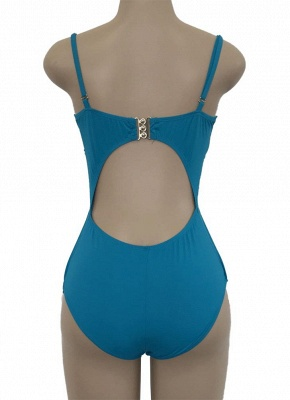 Bandage Hollow Out Solid Ruched Beach Women's One-piece Swimsuit_6