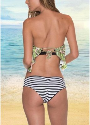 Off the Shoulder Ruffles Striped Leaf Print Bathing Sexy Bikini Set_3
