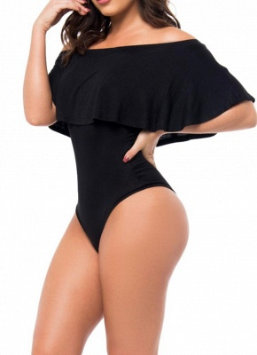 Off Shoulder Ruffled Bodysuit One Piece Swimsuit_4