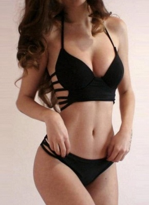 Solid Color Underwire Push-up Halter Strappy Sexy Bikini Set_3