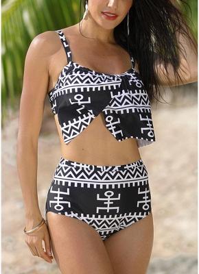 Women Print Two Piece Swimsuit Padding Wireless Bodycon Beach Bathing Swimwear_1