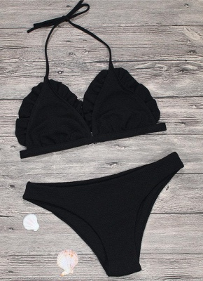 Women Sexy Bikini Set Push Up  Swimsuit Ruffle Low Waisted Padded Two Piece Swimwear Beach Wear_6