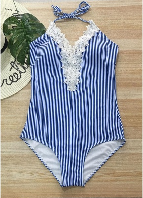 Halter Striped Lace Backless Wireless Monokini Women One Piece_1