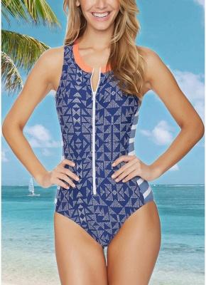 Women One Piece Swimsuit  Geometric Stripe Zipper Contrast Bodysuit Beach Wear Swimwear_1