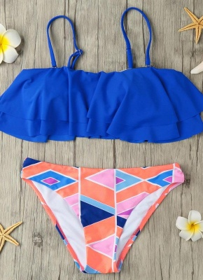 s Removable Strap Ruffled Padded Top Geometric Print Bottom Bandeau Sexy Bikini_1