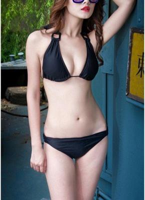 Halter Backless Swimwear Triangle Cups Push Up Sexy Bikini_1