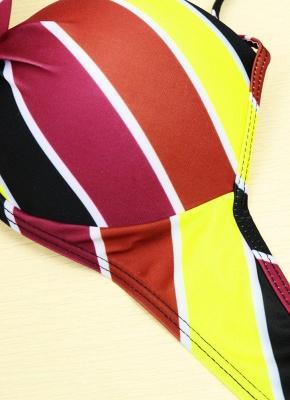 Contrast Stripe Underwire Padded Cup Tie Sexy Bikini Set Swimsuit_13