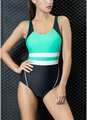 Women One-piece Swimsuit Contrast Color Padded Monokini  Swimwear_3