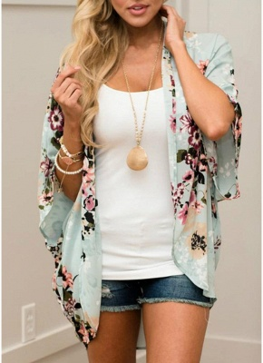 Summer Women Floral Chiffon Cardigan Open Front Half Sleeve Kimono_1