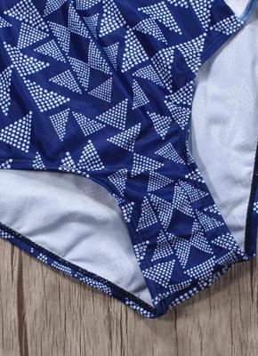 Women One Piece Swimsuit  Geometric Stripe Zipper Contrast Bodysuit Beach Wear Swimwear_5