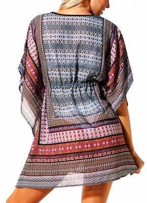 Women Beach Cover Up Dress Bohemian Geometric Print V-Neck Loose_4