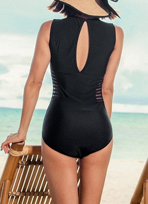 New  Women One-piece Swimsuit Mesh V Neck Hollow Out Solid Padded Beach  Swimwear Black_5