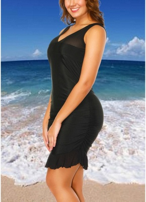 Plus Size Mesh Dress Bottom Tankini Set_3