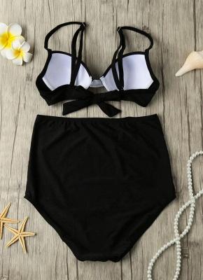 Solid Color Tie Back Underwire High Waist Sexy Bikini Set_5