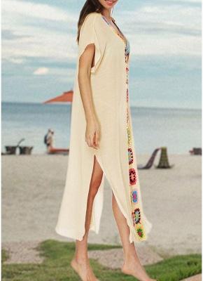 size Crochet Knit Deep V-Neck Short Sleeve Side Split Beach Cover Up_7