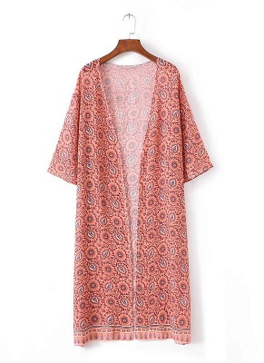 Fashion Chiffon Allover Print Front Open Women's Loose Long Thin Kimono_4