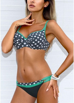 Women Low Waisted Dot Print Underwire Two Piece Sexy Bikini Set_3