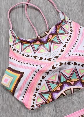 Women Sexy Bikini Set Halter Geometric Print Wireless Swimwear Swimsuits Two Piece Beach Wear_4