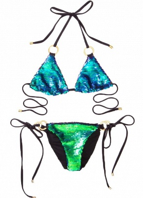 Sequin Halter O-Ring Tie Bandage Swimwear Brazilian Sexy Bikini Set_3