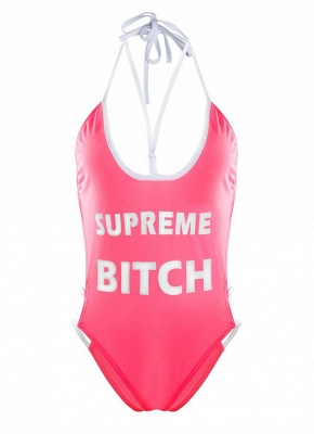 Plunge V Neck High Cut Letters Print Backless One Piece Swimsuit_5