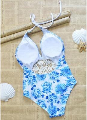 Women Flower One Piece Halter Swimsuit Front Lace Splice Beachwear Swimwear White_4