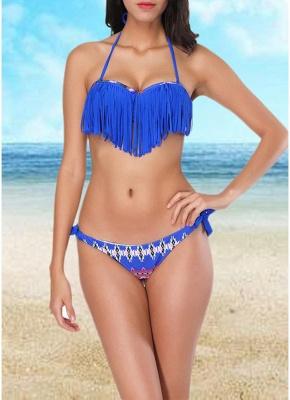 Women  Sexy Bikini Set Halter Tassel Underwire Swimsuit Beach Wear Two Piece_1