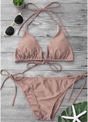 Solid Color Halter Bandage Tie Sexy Bikini Set_1