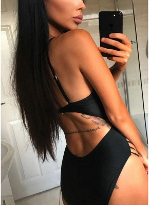 Cut out Strappy High Waist Solid One-piece Swimsuit_3