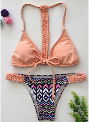 Women Sexy Bikini Set Vintage Print Braided Triangle Tie Front T Back Tanga_2