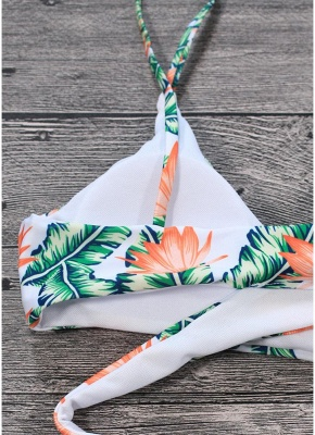 Women Sexy Bikini Set Leaves Print Padded Top Bottom Bandage Beach  Swimsuit Swimwear_5