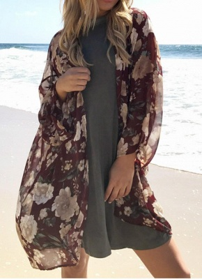 Women Long Beach Cover Up Chiffon Kimono_1