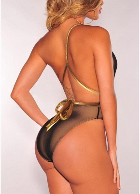 Plunge V Contrast Straps Bandage Open Back  One Piece Swimsuit_4
