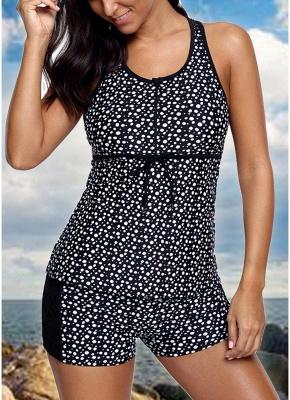 Women Swimsuit  Tankini Top Shorts Set Dot Print Lace Racerback Swimwear Beachwear Black_1