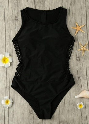 Hollow Out Zipper Back One Piece Swimsuit_6