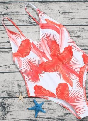 Leaf Print V Neck Backless Sleeveless One Piece Swimsuit_5