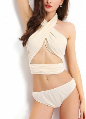Hot Summer  Halter Criss Cross Bandage Strappy Sexy Bikini Set_5