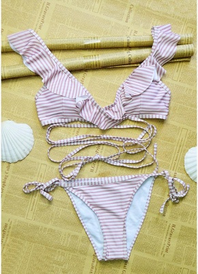 Women  Ruffles Bandage Sexy Bikini Set Swimsuit_4