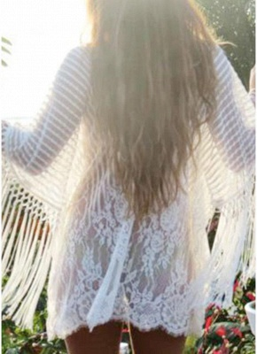 white one size Sheer Lace Tassel Kaftan Beach Cover Up_4