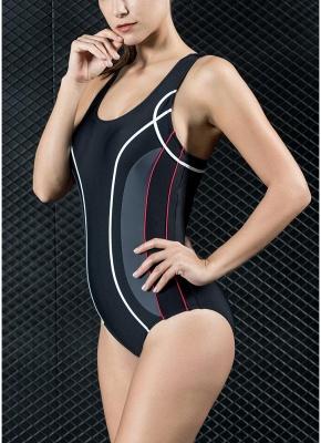 Women Professional One Piece Swimsuit Sports  Contrast Swimwear Swimming Suit_3