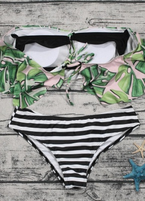 Off the Shoulder Ruffles Striped Leaf Print Bathing Sexy Bikini Set_5