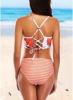 Striped Print Backless Mid Waist Tankini Set_5