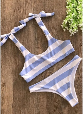 Striped Print Bow Top Bottom Sexy Bikini Set_3