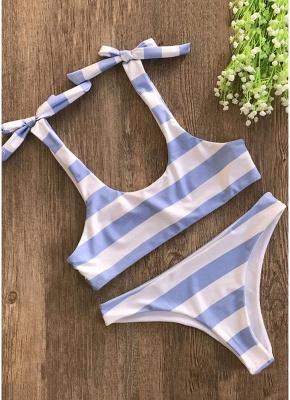 Striped Print Bow Top Bottom Sexy Bikini Set_3