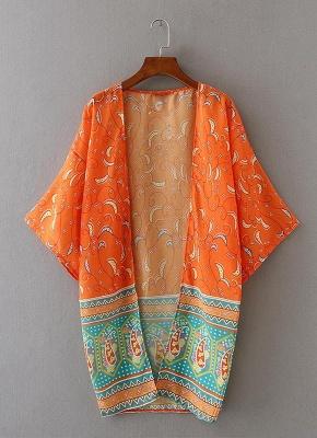 Chiffon Open Front Geometric Print 3/4 Batwing Sleeve Thin Kimono_3