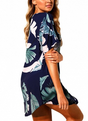 Women Beach Dresses Cover Ups Plants Print Tie Knot Mini Sexy Bikini Beachwear_8