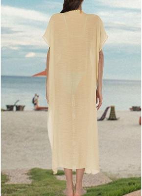 size Crochet Knit Deep V-Neck Short Sleeve Side Split Beach Cover Up_8