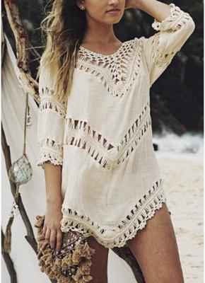 size Women Beach Cover Ups Hollow Out Crocheted Lace Deep V Neck Asymmetrical Hem_2
