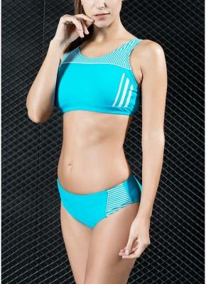 Women Sporty Sexy Bikini Set Striped Cropped Tank Top Two Pieces Swimsuit_2
