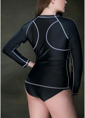 Plus Size Stripes O-Neck Long Sleeves Wireless Padded Swimsuit_6